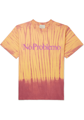 Aries - Printed Tie-dyed Cotton-jersey T-shirt - Yellow
