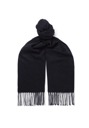 Ermenegildo Zegna - Fringed Cashmere And Silk-blend Scarf - Navy