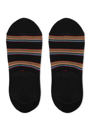 Paul Smith - Striped Mercerised Stretch Cotton-blend No-show Socks - Black