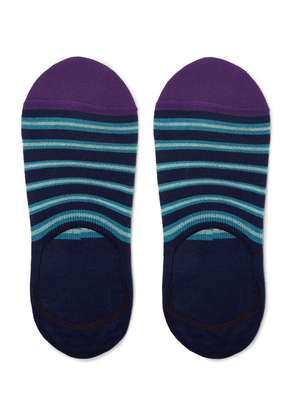 Paul Smith - Striped Mercerised Stretch Cotton-blend No-show Socks - Blue