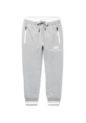 Dolce & Gabbana - Tapered Striped Loopback Cotton-blend Jersey Sweatpants - Gray