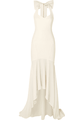 Rebecca Vallance - Claudette Bow-detailed Stretch-crepe Gown - Ivory