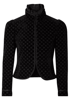 Saint Laurent - Embroidered Silk-trimmed Cotton-blend Velvet Jacket - Black