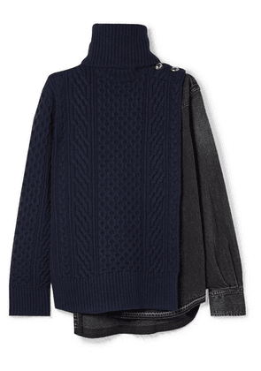 Sacai - Cable-knit Wool And Denim Turtleneck Sweater - Midnight blue
