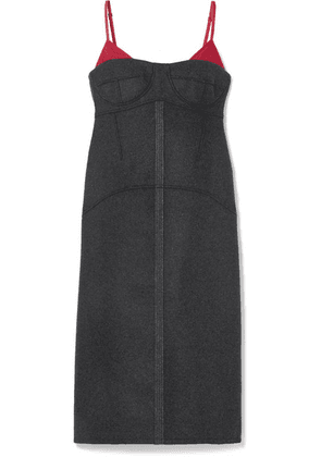 KENZO - Satin Twill-trimmed Wool-blend Midi Dress - Anthracite