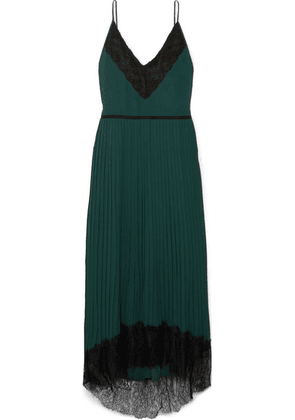 J.Crew - Grand Rapids Lace-trimmed Pleated Crepe Maxi Dress - Emerald