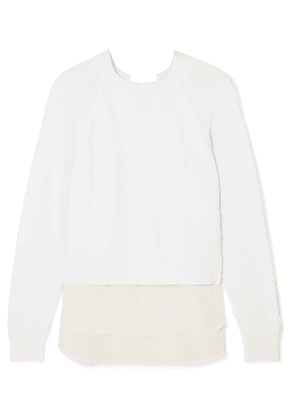 Agnona - Paneled Ribbed Wool And Silk Crepe De Chine Sweater - White