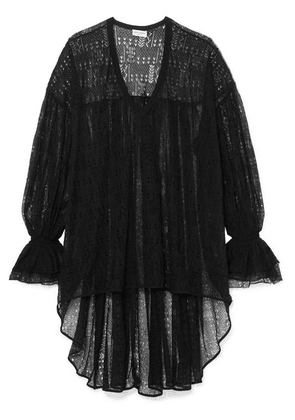 SAINT LAURENT - Asymmetric Lace Top - Black