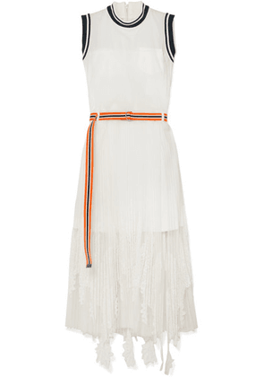 Sacai - Lace-trimmed Tulle And Crepe De Chine Maxi Dress - White