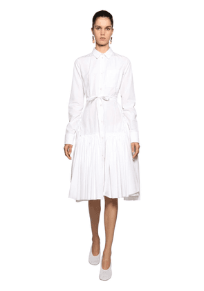 Cotton Poplin Shirt Midi Dress