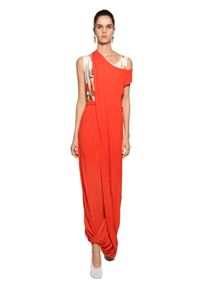 Draped Asymmetric Jersey Long Dress