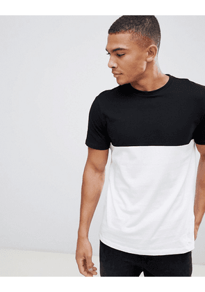 New Look colour block t-shirt in black and white