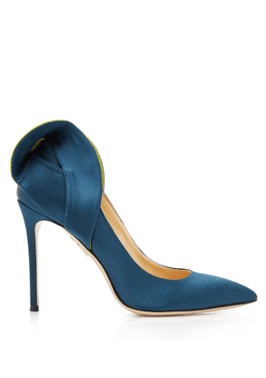 Charlotte Olympia Pumps Women - BLAKE ATLANTIC BLUE & NEON SILK SATIN 37