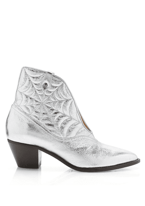 Charlotte Olympia Boots Women - COURTNEY SILVER METALLIC KID LEATHER 36,5
