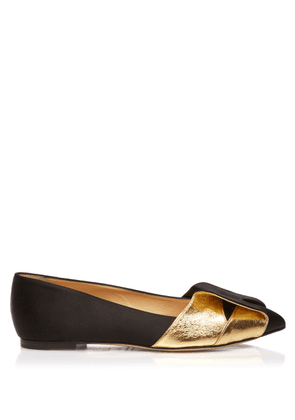 Charlotte Olympia Flats Women - PARTY FLATS BLACK & GOLD SILK 36,5
