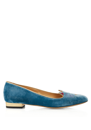 Charlotte Olympia Flats Women - PEACEFUL KITTY BLUE & GOLD VELVET & METALLIC CALF 36