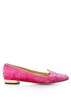 Charlotte Olympia Flats Women - PEACEFUL KITTY FLAMINGO & GOLD VELVET & METALLIC CALF 36