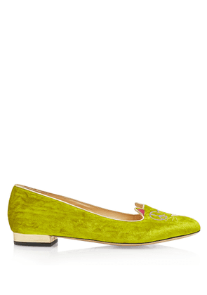 Charlotte Olympia Flats Women - PEACEFUL KITTY NEON & GOLD VELVET & METALLIC CALF 36
