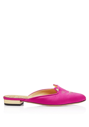 Charlotte Olympia Flats Women - SABOT KITTY FUCHSIA & GOLD SATIN & METALLIC CALF 36