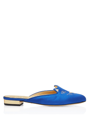 Charlotte Olympia Flats Women - SABOT KITTY BLUE & GOLD SATIN & METALLIC CALF 36