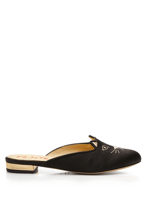 Charlotte Olympia Flats Women - SABOT KITTY BLACK & GOLD SATIN & METALLIC CALF 36