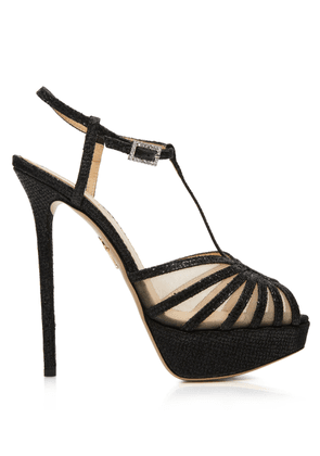 Charlotte Olympia Sandals Women - GEORGINA BLACK GLITTER 36