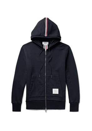 Thom Browne - Grosgrain-trimmed Loopback Cotton-jersey Zip-up Hoodie - Navy
