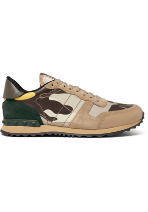Valentino - Valentino Garavani Rockrunner Camouflage-print Canvas, Leather And Suede Sneakers - Neutral