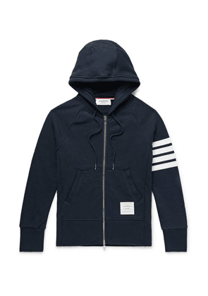 Thom Browne - Slim-fit Striped Loopback Cotton-jersey Zip-up Hoodie - Navy