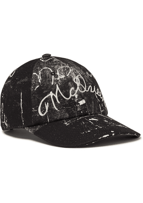 Alexander McQueen - Leather-trimmed Embroidered Printed Cotton-canvas Baseball Cap - Black