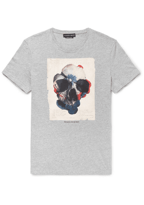 Alexander McQueen - Slim-fit Printed Mélange Cotton-jersey T-shirt - Gray