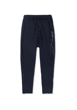 Isabel Benenato - Logo-embroidered Knitted Sweatpants - Midnight blue