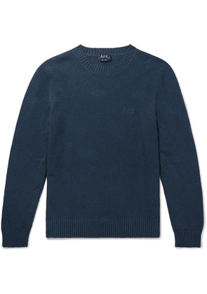 A.P.C. - Micka Logo-embroidered Textured Cotton-blend Sweater - Navy