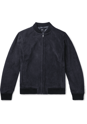 A.P.C. - Bryan Suede Bomber Jacket - Navy