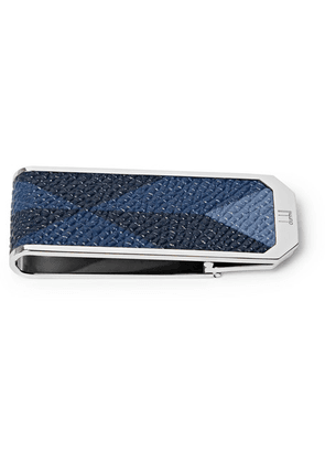 Dunhill - Cadogan Printed Pebble-grain Leather Silver-tone Money Clip - Silver