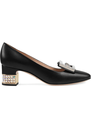 Gucci Leather mid-heel pump with crystal G - Black