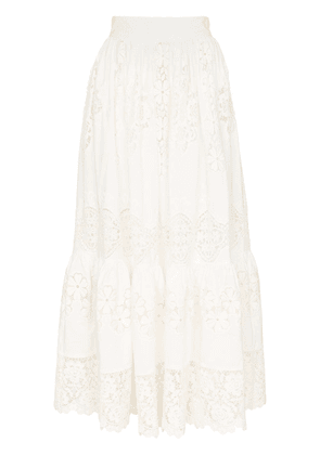 Dolce & Gabbana tiered lace detail high waisted midi skirt - White