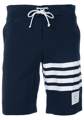 Thom Browne Board Short With Printed 4-bar In Navy Brushed Finish Swim