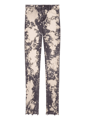 Gucci embroidery stretch tight jeans - Pink
