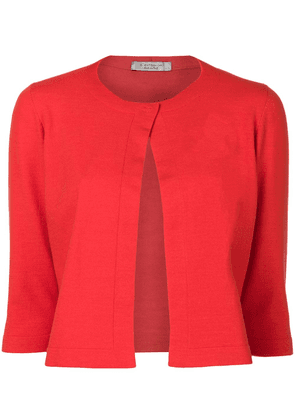 D.Exterior cropped cardigan - Red