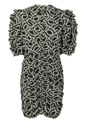 Isabel Marant chain print ruched dress - Black
