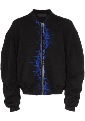 Haider Ackermann thorn embroidered cotton bomber jacket - Black