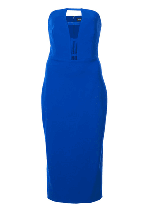 Christian Siriano cut-detail strapless fitted dress - Blue