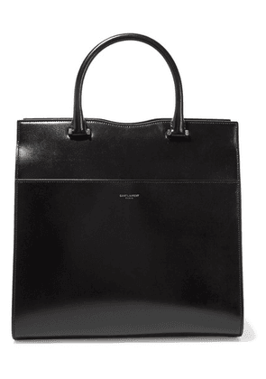 Saint Laurent - Cabas Uptown Glossed-leather Tote - Black