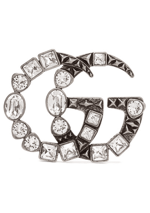 Gucci - Silver-tone Crystal Brooch - one size