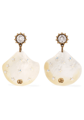 Gucci - Gold-tone, Pearl And Crystal Earrings - White