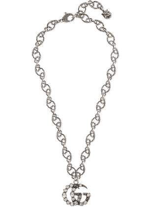 Gucci - Oxidized Silver-tone Crystal Necklace - one size