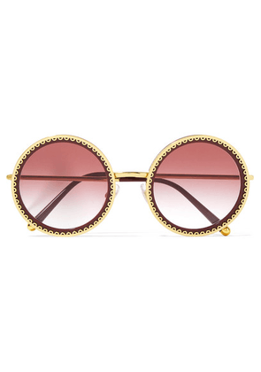Dolce & Gabbana - Round-frame Acetate And Gold-tone Sunglasses - Claret