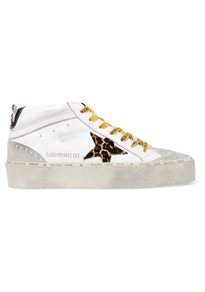 Golden Goose Deluxe Brand - Hi Mid-star Distressed Leather, Suede And Leopard-print Calf Hair Sneakers - White