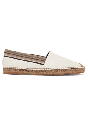 Brunello Cucinelli - Grosgrain-trimmed Textured-leather Espadrilles - White